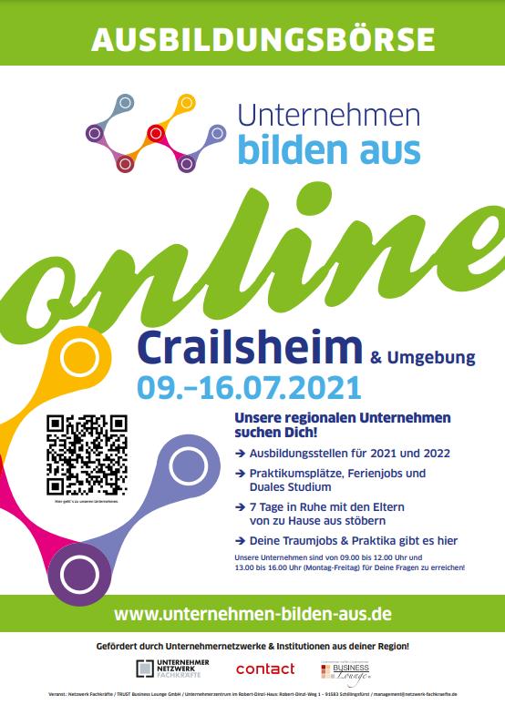 Read more about the article Netzwerk-Fachkräfte-Ausbildungsbörse für Crailsheim und Umgebung vom 09.07.21 – 16.07.21